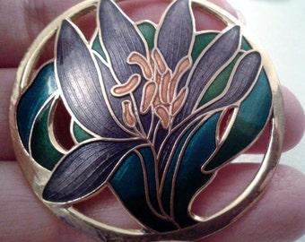 Vintage Brooch - Enamel Painted Floral Brooch