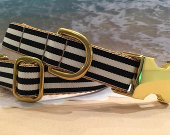Nautical Dog Collar with Stripes, In M, L, XL (Pictured With Brass Cost Upgrade)