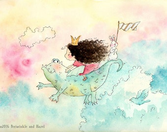 Brunette Girl Riding a Dragon - Sophie and the Dragon - Art Print - Children