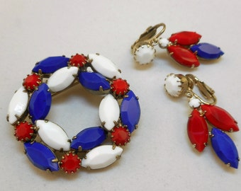 Vintage Red White Blue Rhinestone Pin Earrings Set