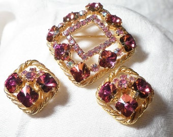 Beautiful Vintage Brooch Earrings Gold  Pink Rhinestones AB 3 piece set Unsigned Beauty Bling