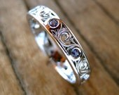 Purple Green Lab Created Alexandrite Wedding Ring in 18K White Gold with Fine Scroll Work Size 8