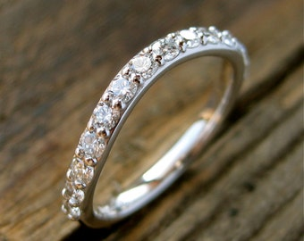 Curved Matching Wedding Ring with Diamonds in 14K White Gold Size 5.5