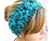 SALE 30% OFF - Hand Knit Headband, Braided Cable, Vegan Washable Yarn, Aqua Turquoise Hunter Green, Coconut Buttons
