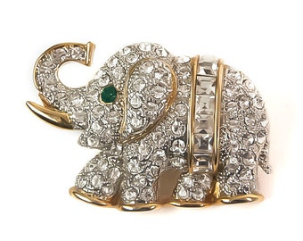 1980s  White and Emerald Green Rhinestone Gold Tone Elephant Vintage Pin Brooch Trunk Up