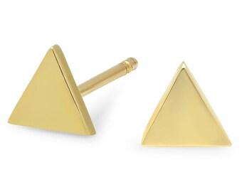 Stud Earrings, Gold Earring, Triangle Earrings, 14K Sold Gold Earrings, Tiny Earrings, Tula Jewelry.