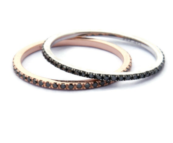 Micropave Diamond Band, Black Diamond, Stacking  Ring, Diamond  Ring, Eternity Band, Wedding Band