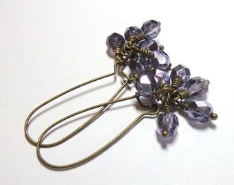Purple Silver Czech Glass, Cluster Purple Earrings, Antique Brass, Spiritcatdesigns, Pastel Purple Earrings