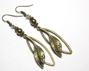 Jewelry, Earrings, Swarovski Austrian Brass Pearls, Antique Brass Leaf Branch