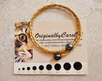 Black Tahitian Pearl Wrap Bracelet