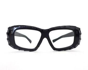 Big Tiki Carved Black Frame France Eyeglasses Mad Scientist Susan Test Nerd Mod VTG 60s Sunglasses Panto NOS 60s 50s Bug Eye GoGo Festival