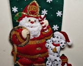 """Handmade Completed/Finished Bucilla Fireman Santa 18"""" Christmas felt stocking 86107 with free personalization"""
