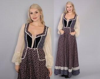 Vintage 70s GUNNE SAX DRESS / 1970s Navy Blue Floral Boho Full Skirt Velvet Corset Bodice Maxi xs - m