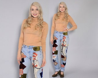 Vintage Patchwork Jeans / Custom Patched Velvet Cat in the Hat High Waisted Levi's 501s