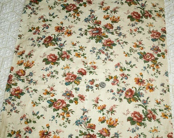 Pretty Vintage Floral from France with Pink and Yellow on Linen