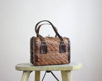 VACATION SALE. 1950s studded basketweave handbag