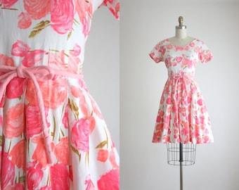 1950s watercolor roses dress