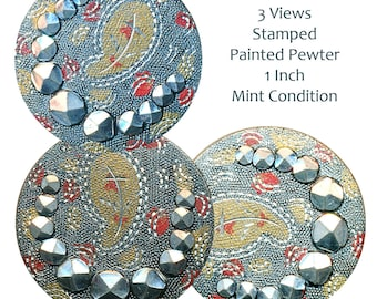 Button--ONE Snazzy Late 19th C. Stamped Pewter with Cuts & Color Paisley