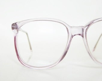 POP SALE Vintage Clear Purple 1980s Eyeglasses Womens Ladies Round P3 Nerdy Indie Hipster Chic Pastel Lavender Light Transparent 80s Nerdy G