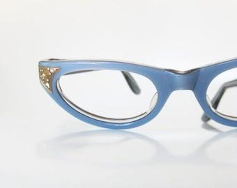ON SALE Vintage 1960s Blue Cat Eye Eyeglasses Glasses Pastel Rhinestone Pin Up Deadstock Swan Optical USA Robins Egg 60s Sixties Womens Ladi