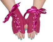 Lace Up Fingerless Gloves -Magenta Corset