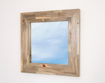 Modern Wood Mirror, Hanging Gray Wood Frame 24 Inches Sqaure, Beetle Kill Blue Pine, Handmade Custom Mirrors Available