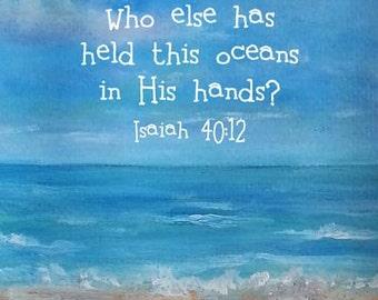 Bible Verse Christian Gift Scripture Sea Landscape Print Isaiah 40:12