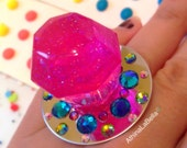 Ring Pop Cosmic Glitter Pink Candy Glam