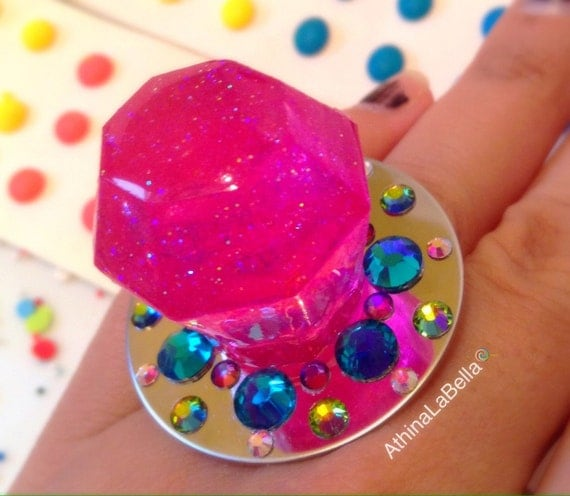 ring pop cosmic glitter pink candy glam by athinalabella