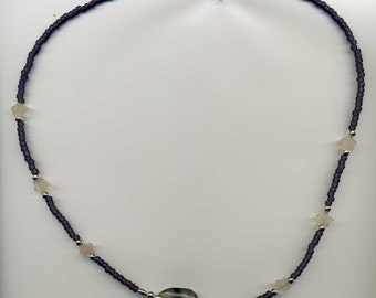 "Purple & Lavender Beaded Necklace - Sterling Silver - 22"" - TD-0814-A"