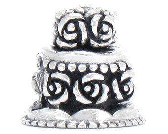 Wedding Anniversary Birthday Cake Bead Charm - 925 Silver - Fits Pandora and Compatible European Brand Bracelets - BELLA FASCINI® M-159