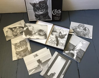 CATS Note Card Collection 40 Black and White Photo Cards Vintage Complete Box Set Stationery