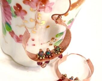 Hammered Copper, Garnet and Aurora Borealis Pyrite Nugget Hoop Earrings