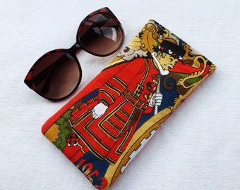 Beefeater glasses case, reclaimed fabric, flexi top spectacle holder, Yeoman Warders from the Tower of London