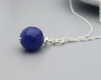 Purple Jade Necklace, Semi Precious Faceted Jade and Sterling Silver Necklace, Gemstone purple stone