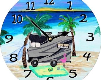 RV modern camper wall clock from my art