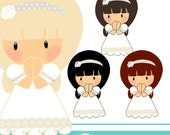 Girl First Communion cliparts - COMMERCIAL USE OK