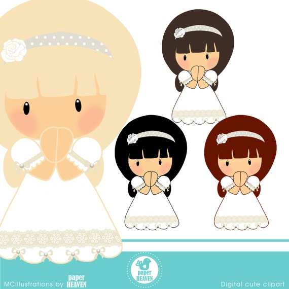 Girl First Communion cliparts COMMERCIAL USE OK