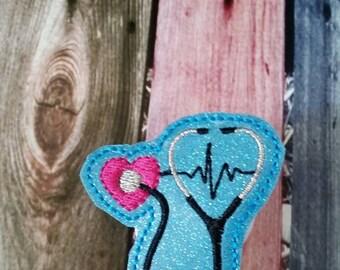 Heart Stethescope - EKG- Badge Reel - Retractable Badge Reel - gift for nurse - ID holder - identification - Embroidered - Durable - Uniform
