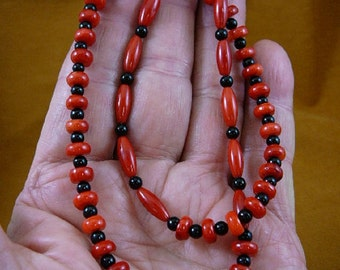 20 inch long 7x4 mm red bamboo coral with black onyx beaded Necklace jewelry V30-52