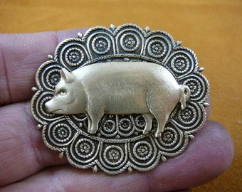 Pig farm sow pigs love lover piglet scrolled circles oval repro Victorian brass pin pendant brooch B-PIG-157
