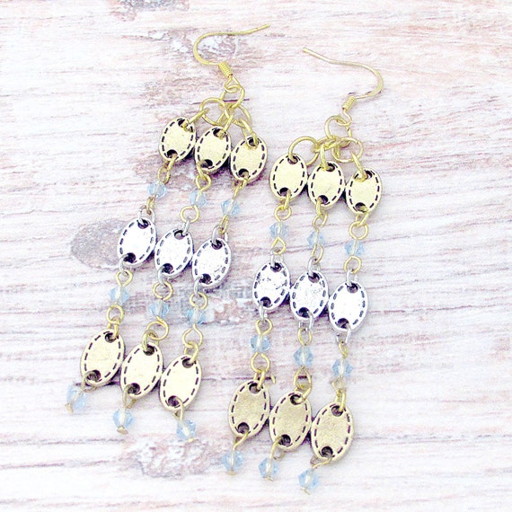Long Gypsy Earrings - Bohemian Shoulder Duster Earrings - Ethnic Chandelier Earrings - Gold Gypsy Earrings - Crystal Chandelier - Gatsby