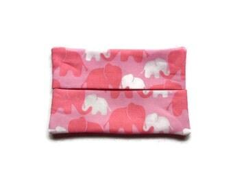 Handmade Fabric Elephant Tissue Holder -  Pink Elephants
