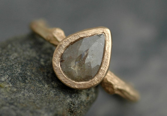 Rose Cut Diamond in  Recycled 14k Gold Twig Ring- Custom Made to Order Engagement Ring