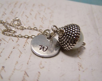 Personalized Acorn Necklace in White. Peter Pan. Wendy Kiss