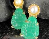 Vintage FAUX JADE BUDDHA Pearl Earrings Screw On Earrings