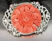 Vintage CELLULOID FLORAL RHINESTONE Pin Molded Flower Rose Pot Metal Brooch