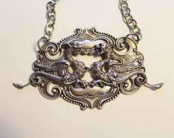 Fighting Griffins - Antiqued Silver Plated Dappled Layered Necklace