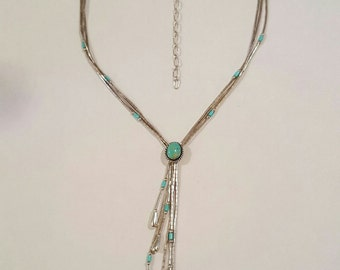Vintage Sterling Silver and Turquoise Cabochon Necklace