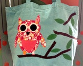 Owl on reusable, organic cotton tote bag